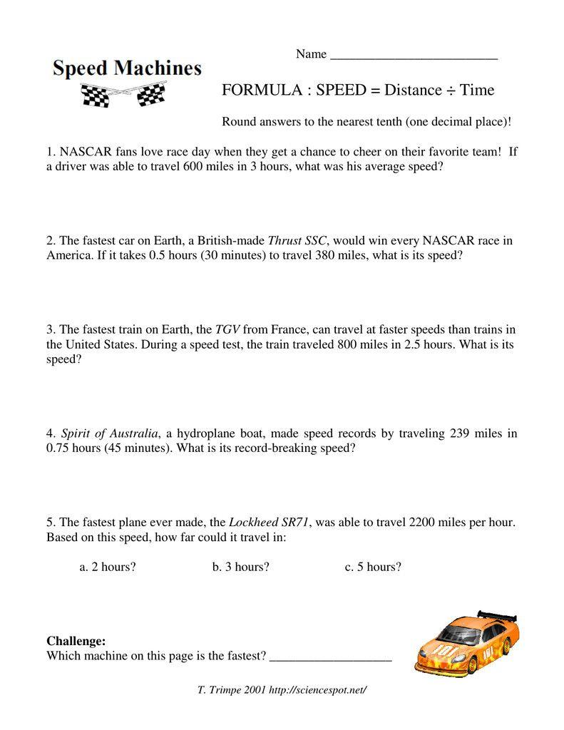 medium resolution of 4 Speed Distance Time Problems Worksheet   Distance time graphs worksheets