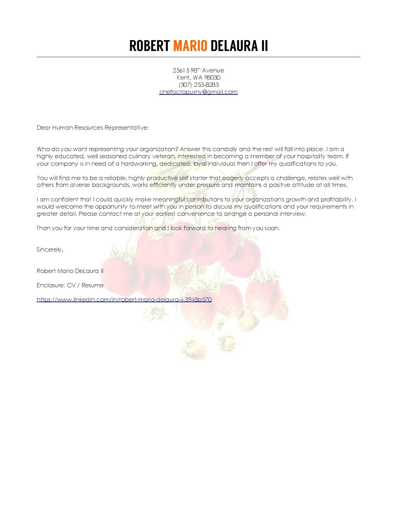 chef cover letter (With images) | Creative resume