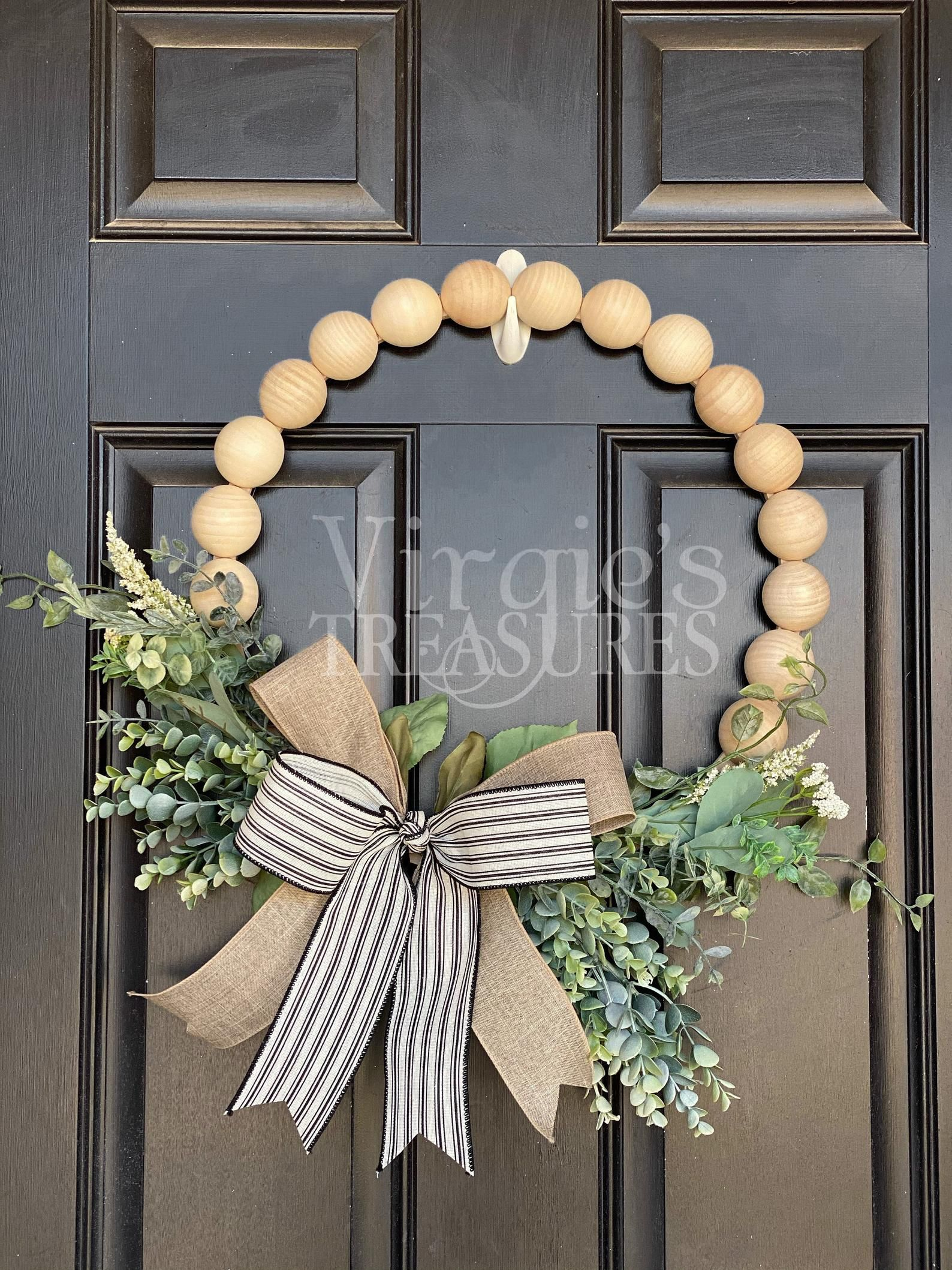 Photo of Wood Bead Wreath, Farmhouse Wreath, Eucalyptus Hoop Wreath, Spring Summer Farmhouse Wreath, Mantel Wreath, Kitchen Wreath, Cottage Decor