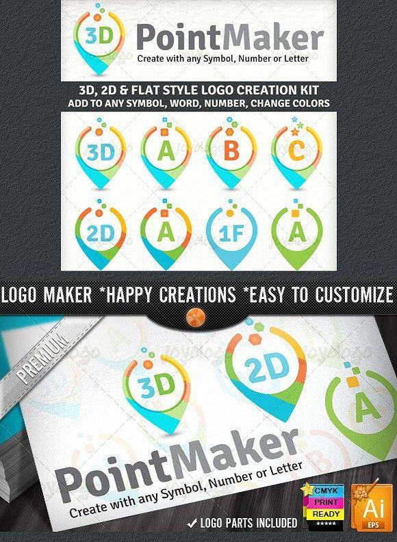 Flat 2D 3D Point Logo Maker Set Logo maker, Logo