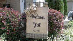 Welcome Y'all Burlap Garden Flag - Outdoor Decor