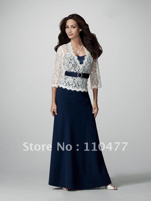 Tea Length Mother Groom Dresses Bride Dresses Royal Blue Long