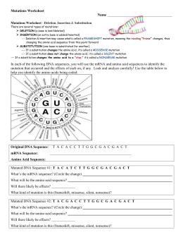 Gene And Chromosome Mutation Worksheet Answer Key - worksheet