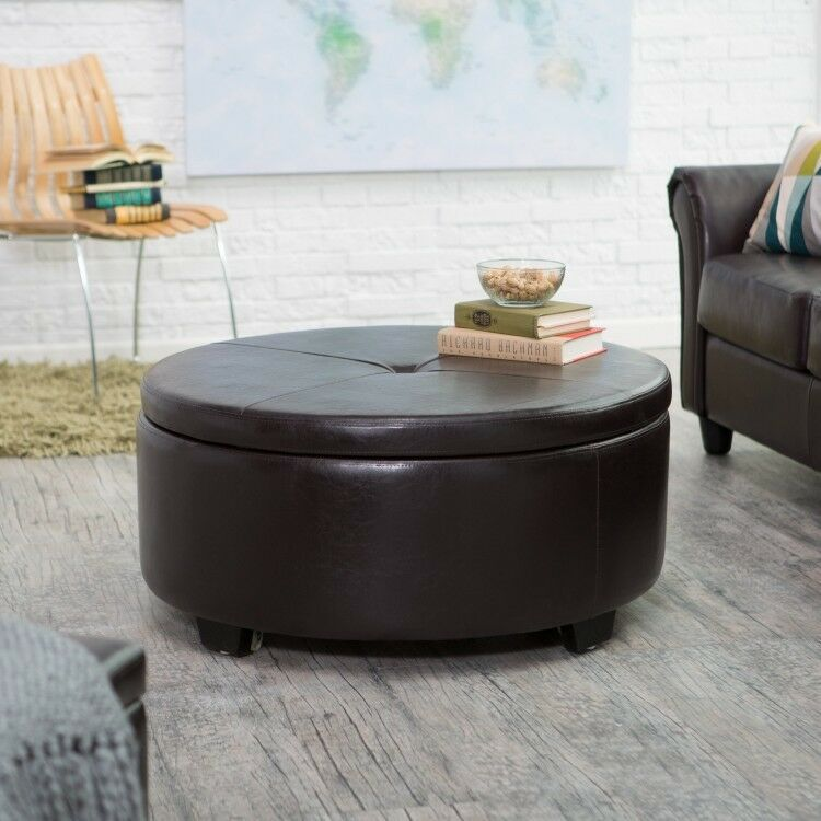 Large Round Ottoman Brown Leather Storage Home Living Room Decor Coffee Table D In 2020 Storage Ottoman Coffee Table Leather Ottoman Coffee Table Leather Coffee Table