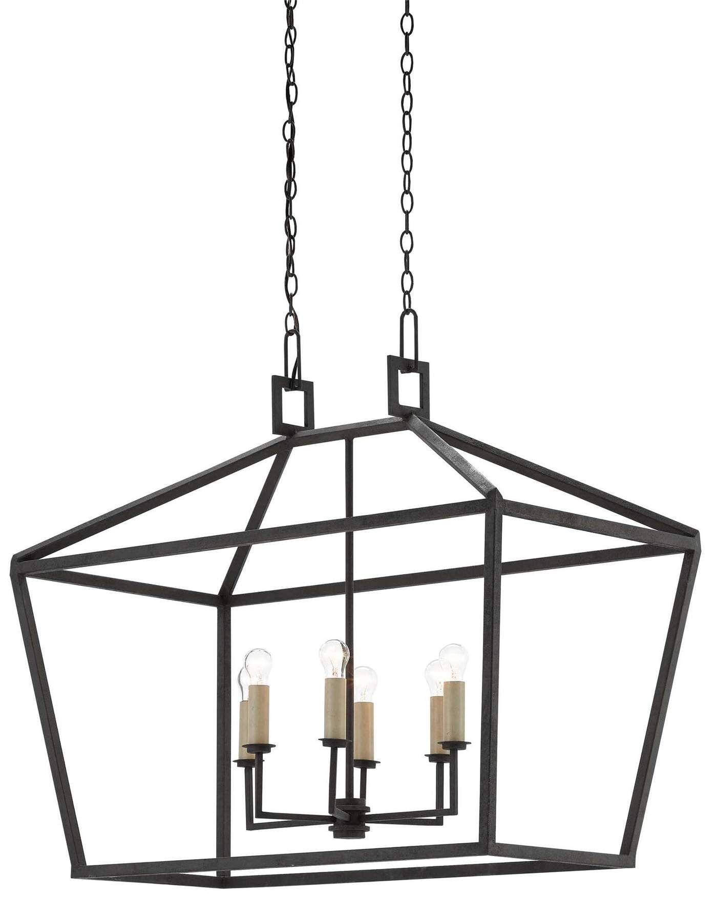 Denison Rectangular Lantern Black Wrought Iron Light Fixtures