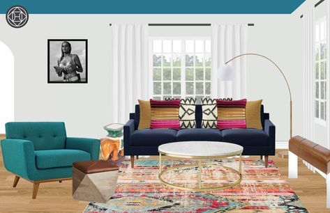 Modern, Bohemian, Midcentury Modern Living Room Design by Havenly Interior Designer Nicole #havenlylivingroom Modern, Bohemian, Midcentury Modern Living Room by Havenly #havenlylivingroom