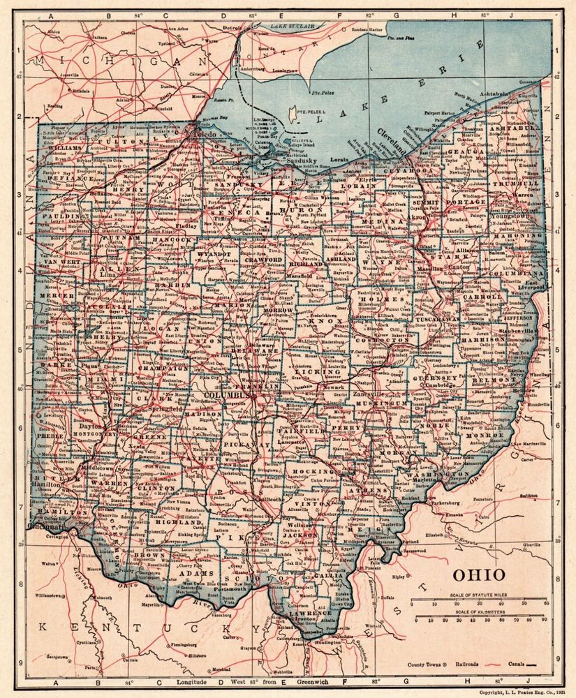 Details about 1921 Antique OHIO Map Vintage State Map of Ohio ...