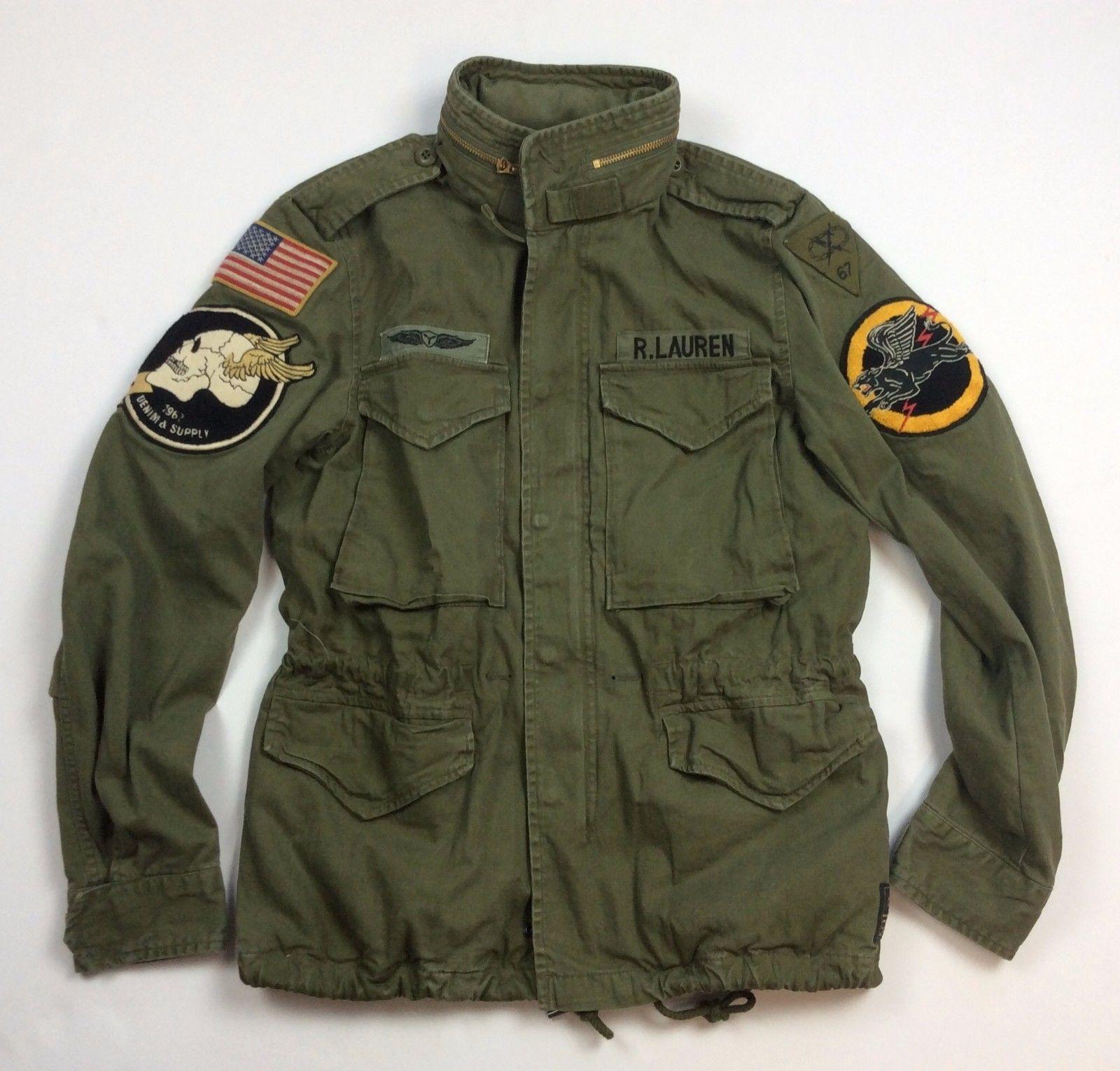 361c62494 Denim Supply Ralph Lauren Men Military USA Army American Flag Skull ...