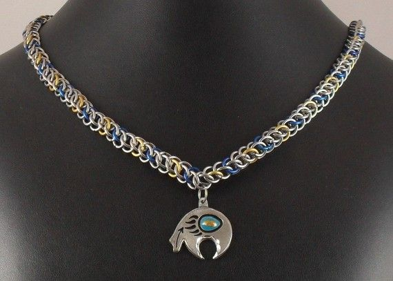 Viesturs  - Stainless/#Blue/#Gold #Necklace with Zuni-style #Bear Pendant. $35.00, via #Etsy.  #handmade #chainmaille #jewelry #fashion #style