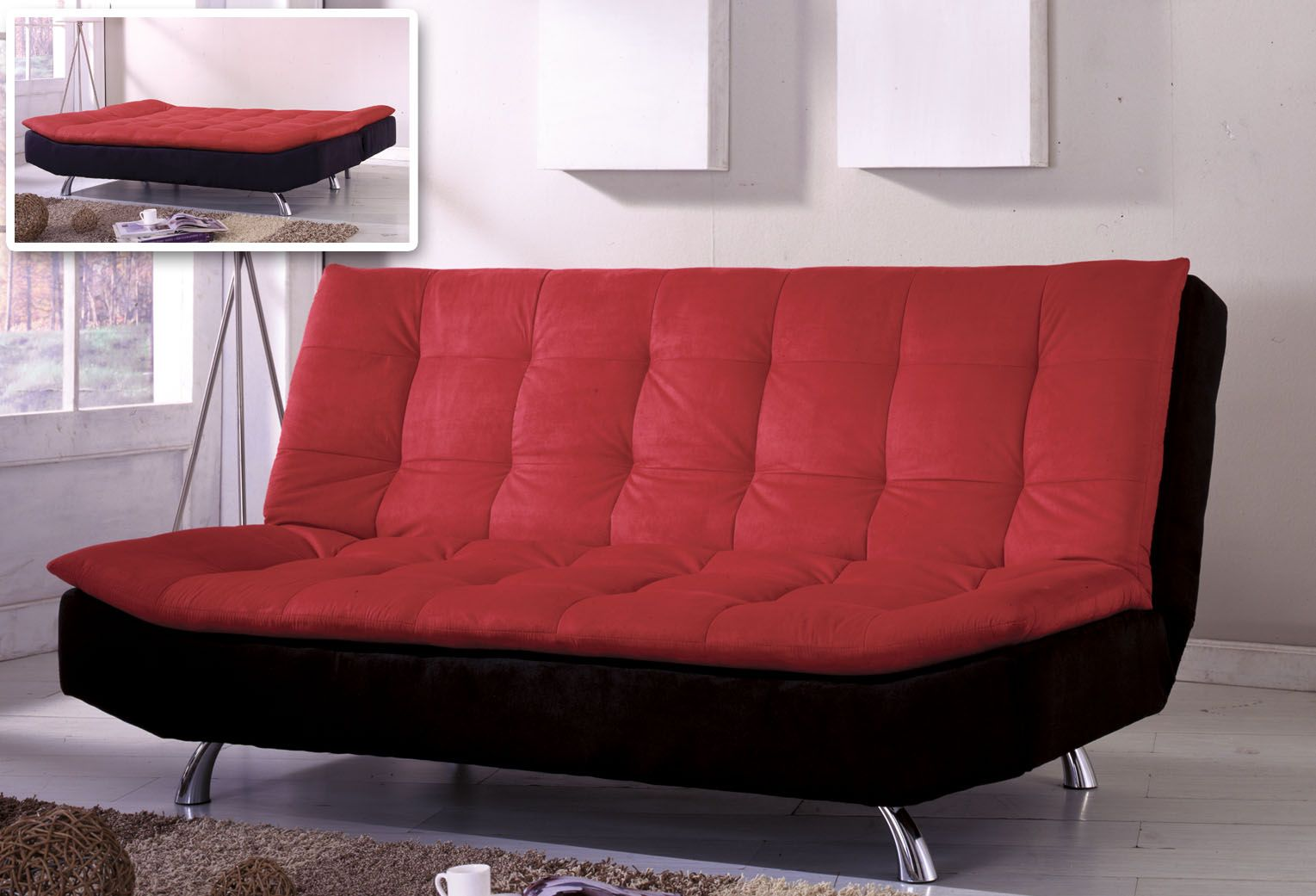 Stylish Red Couches That Turn Into Bed With Tuft Pattern And Black Accent Aside Tripod Lamp In White Room Gl Window