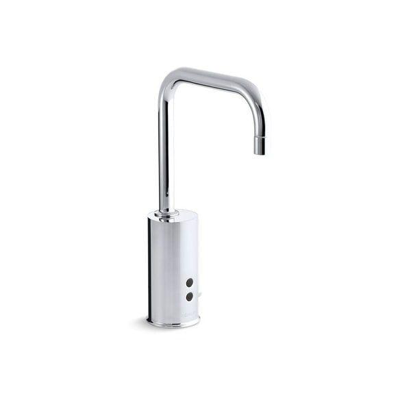 Photo of Kohler gooseneck polished chrome temperature mixer sink faucet (polished / chrome finish), gray