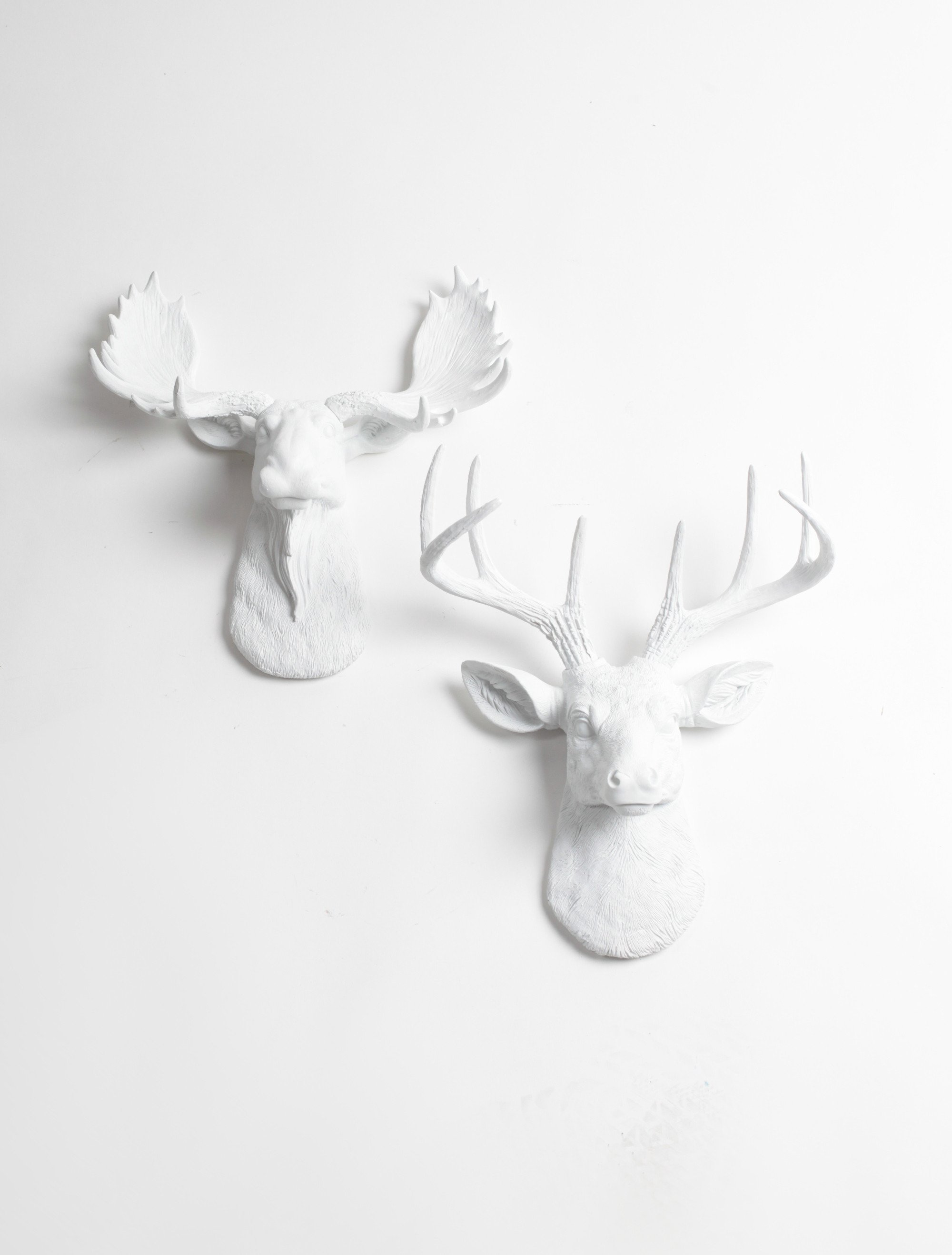 Mini Moose Deer Wall Decor White Moose And Stag Mini Wall Art Gift Set White Faux Taxidermy Moose Head Wall Mount Moose Head Wall Art