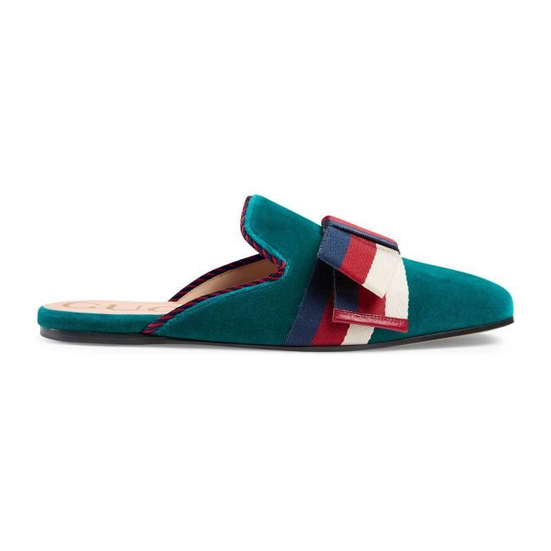 c368976da GUCCI VELVET SLIPPER WITH SYLVIE BOW. #gucci #shoes # | Gucci ...