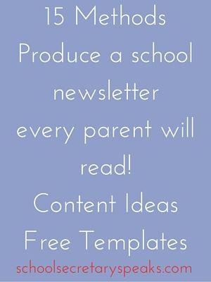 Newsletter Free Printabls School Secretary Speaks: Best Content to ...