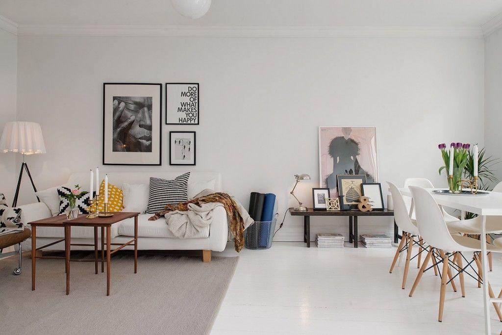 Salon en blanco gris y madera natural buscar con google - Comedores estilo nordico ...