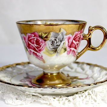 Royal Sealy Vintage Teacup - Tea Cup and Reticulated Saucer - Gorgeous Hand Painted Roses 12387
