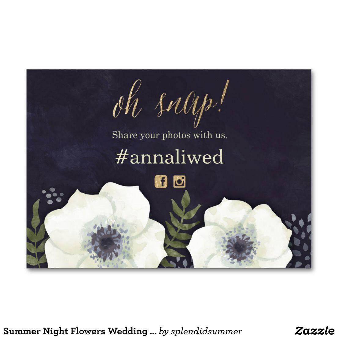 Summer Night Flowers Wedding Photo Hashtag Card