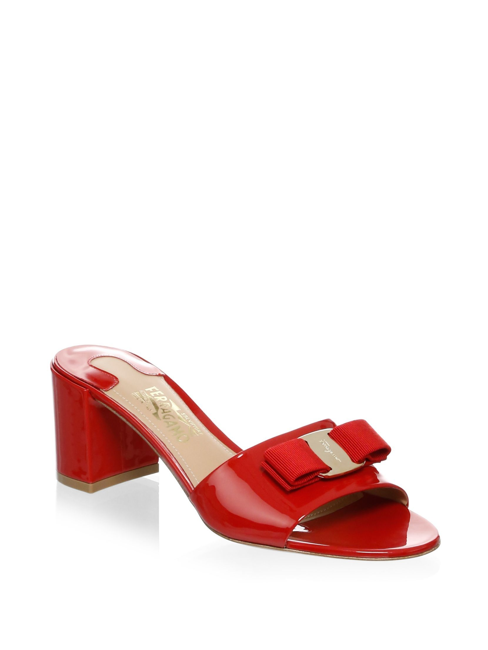 Salvatore Ferragamo Patent Leather Slip-On Sandals Ox42I