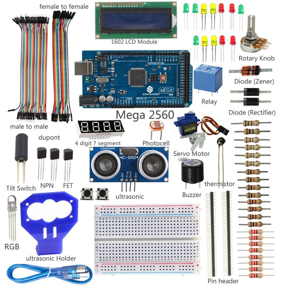 NewSunFounderMega2560LCDElectronicKitUltrasonicRelaySensor