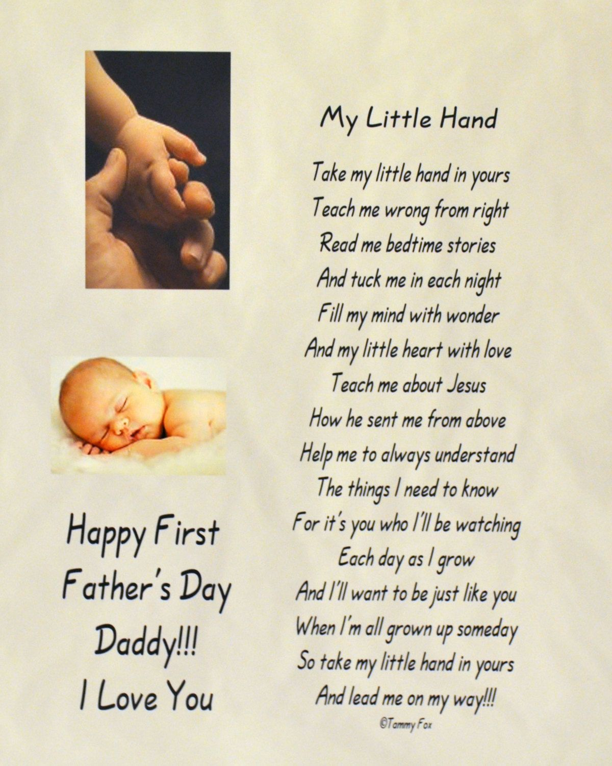 This Is A Precious Poem From Baby To Daddy And Makes The Perfect Gift For Fathers Day Birthday Or Just New Dad