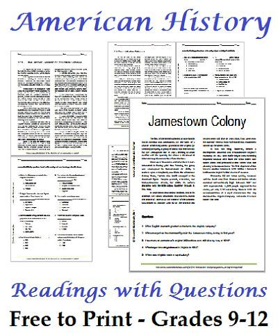 Worksheets Free History Worksheets list of american history readings worksheets for high school students free to print
