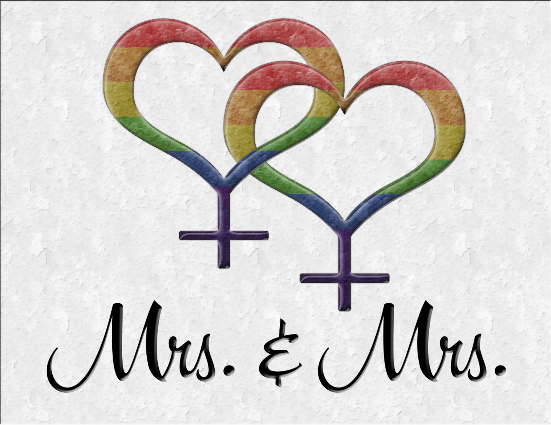 Mrs and Mrs Lesbian pride Wedding design with overlapping rainbow colored Female gender symbols Great