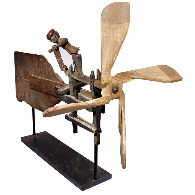 Early Folk Art Whirligig- Articulated Worker Sawing Wood | From a unique collection of antique and modern weathervanes at http://www.1stdibs.com/furniture/folk-art/weathervanes/