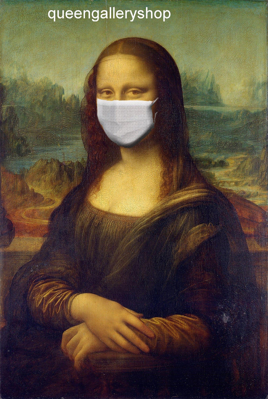 Mona Lisa With Mask Da Vinci Arts Poster Digital Download Etsy Mona Lisa Da Vinci Art Poster Art