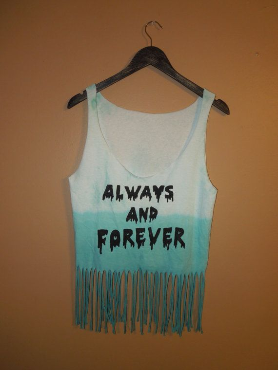 Always and Forever Teal Dip Dyed Drip Fringe Tank by RowenaAlley, $17.00