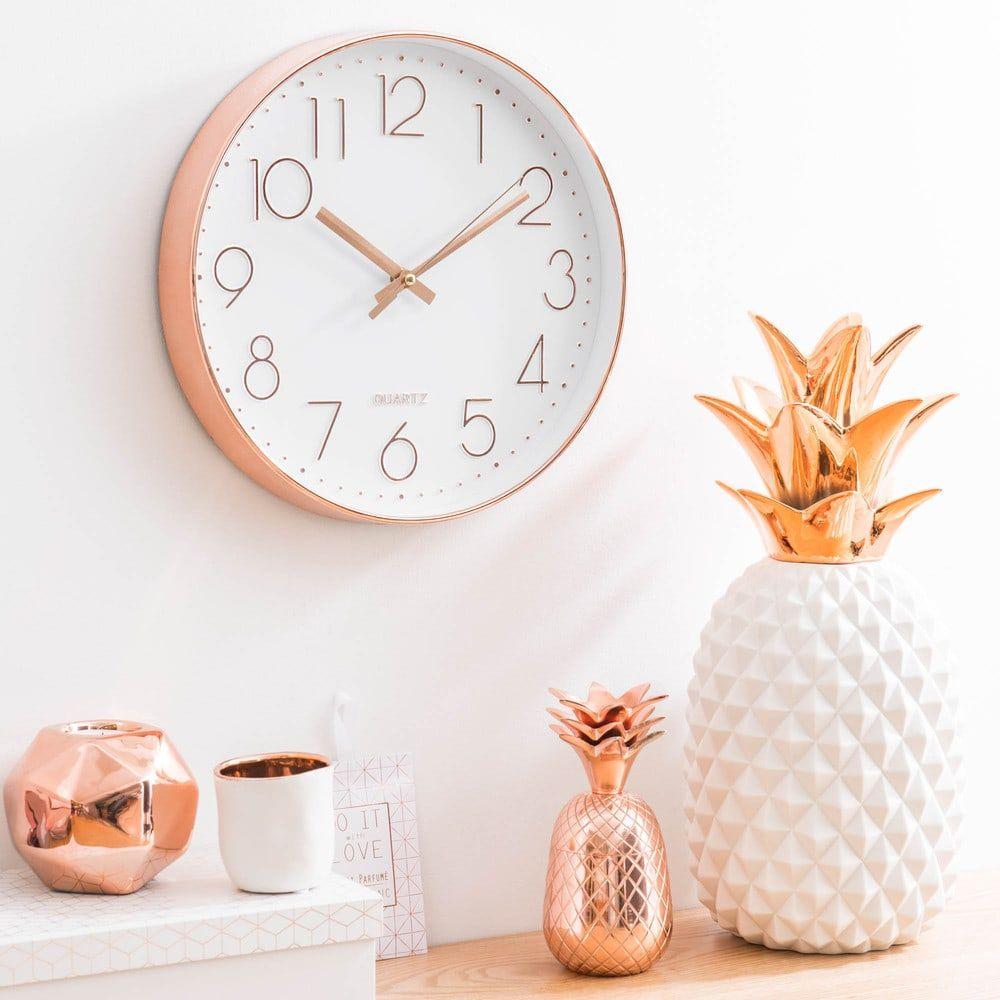 Wit en koperkleurige klok D17  Déco chambre rose, Idée déco