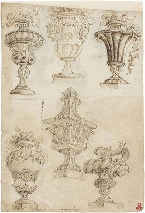 Ferdinando Galli da Bibiena - «Vasi monumentali», recto, «Vasi monumentali ed una nave», verso - Inchiostro e matita su carta - mm. 180x121
