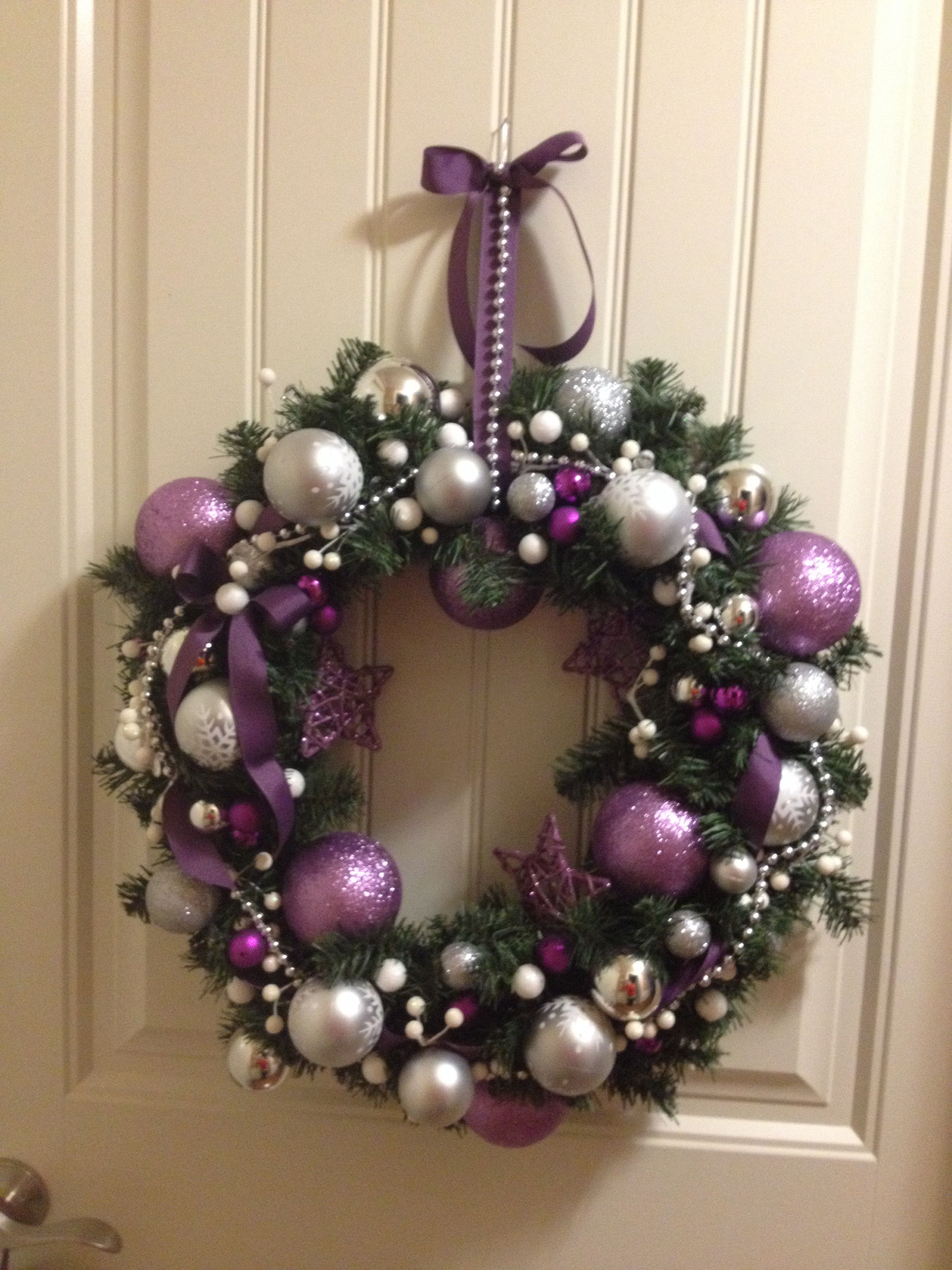 Purple Silver And White Christmas Wreath Purple Christmas Decorations Christmas Tree Decorations Christmas Crafts