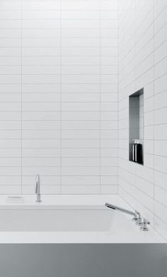 Image Result For Stacked 4x12 Subway Tile White Bathroom Tiles