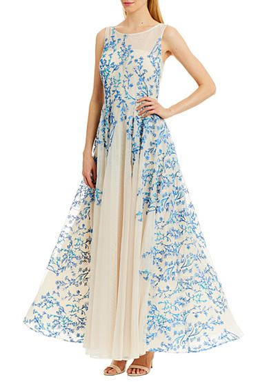 Nicole Miller New York Illusion Embroidered Gown Nicole Miller