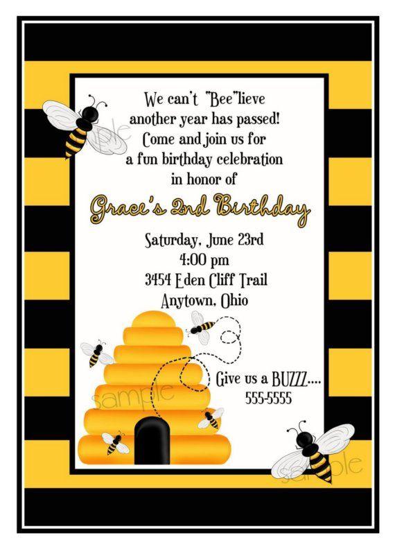 Bee Invitations Bumble Bee invitations Bee Invites Beehive – Bumble Bee Party Invitations