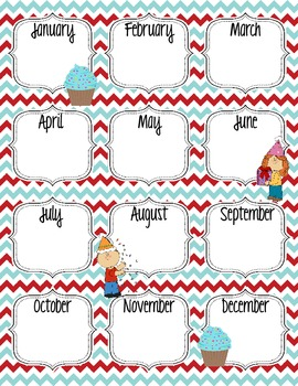 Red And Aqua Printable Birthday Chart