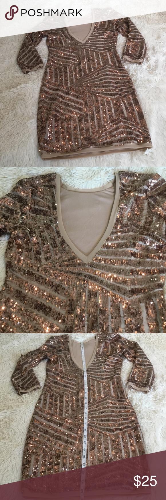 Forever 21 Bronze Sequins Dress Size Medium Sequin Fitted Dress Sequin Dress Dresses