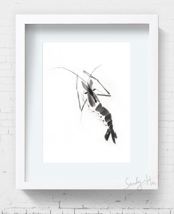 Black Shrimp Watercolor Painting Ink Painting Shrimp Painting