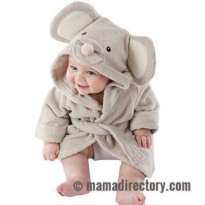 Cute Baby Bath Towel with Bonus Washcloth Infant Hooded Wrap Bathrobe Animal