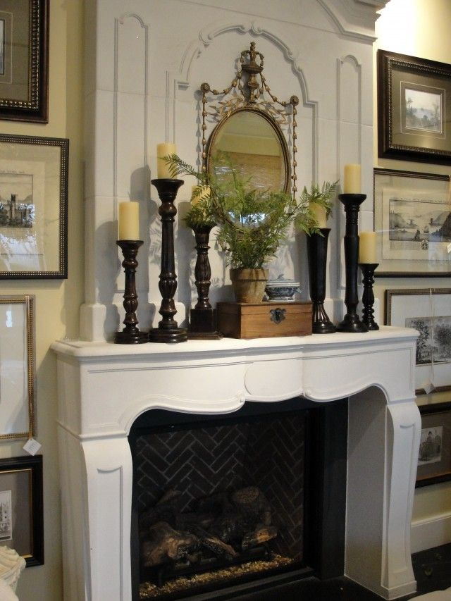 Fireplace mantel and Fireplace candles