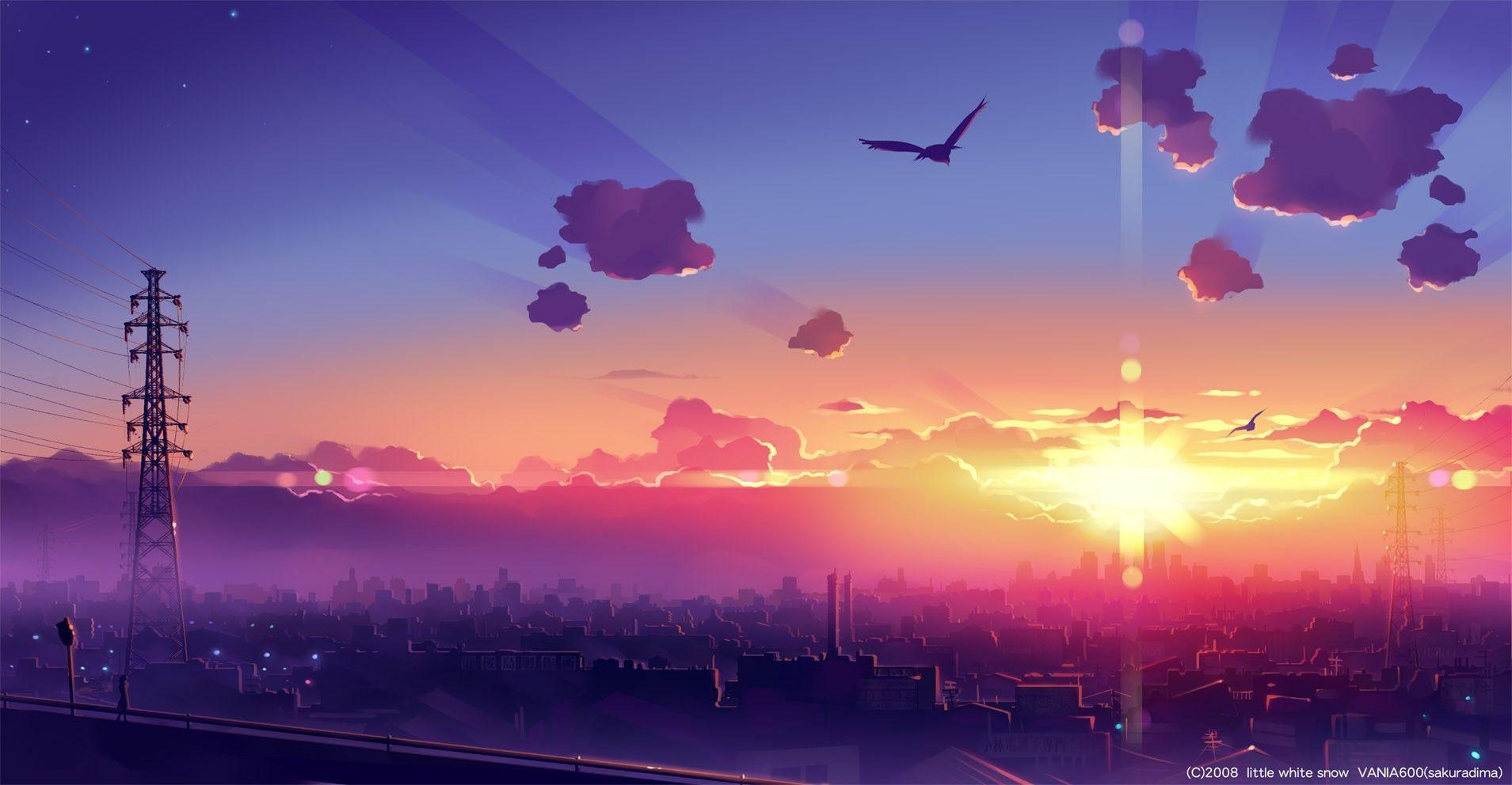 clouds sunset city birds wallpaper Cenário anime, Fundo