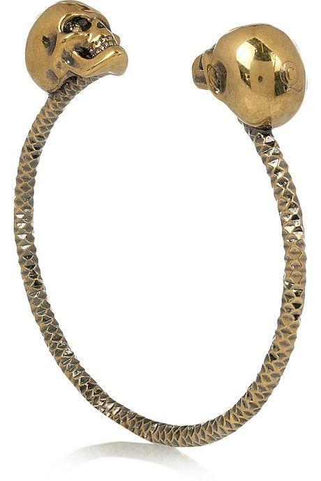 Alexander McQueen Swarovski crystal double-skull bracelet