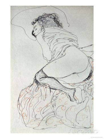 Female Nude, Turned to the Left, 1912-13 Giclee Print by Gustav Klimt at AllPosters.com