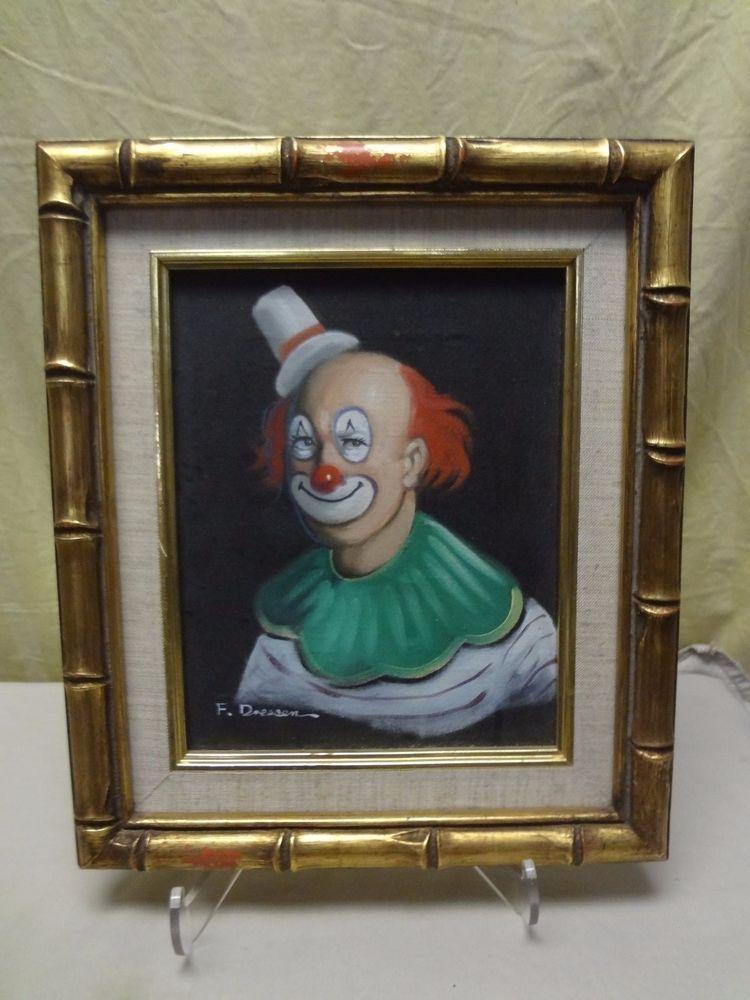 Wohnideen Dreßen vtg 1960 s signed f dressen wood frame circus clown