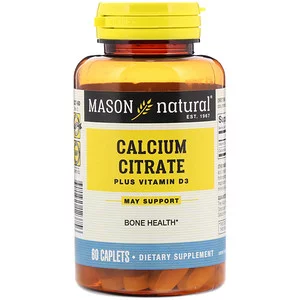 Mason Natural Calcium Citrate Plus Vitamin D3 60 Caplets Calcium Citrate Vitamin D3 Vitamins