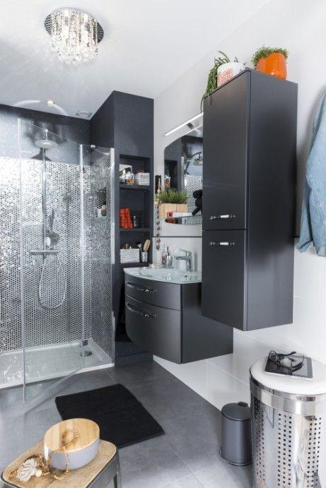 Salle de bains grise aux effets métallisés Salle de bains Pinterest
