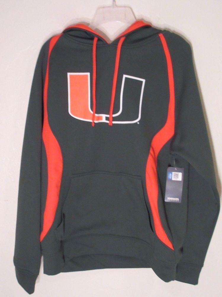 SALE + free Shipping!! University of Miami Mens Hoodie Medium Green #KnightsApparel #Hoodie