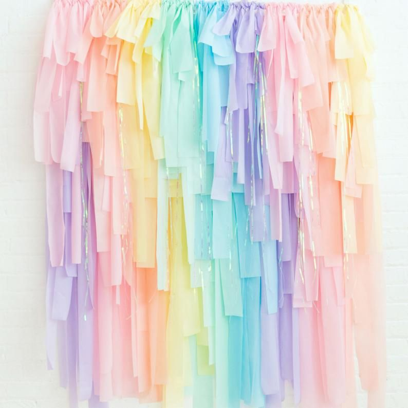 Unicorn Rainbow Streamer Fringe Backdrop - Pastel Rainbow Fringe - Pastel Rainbow Party