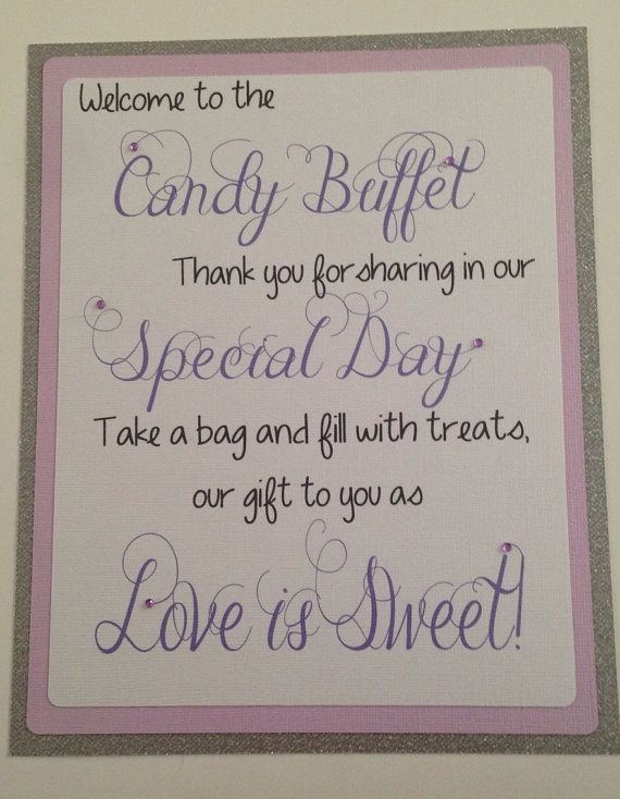 Glitter candy buffet welcome sign! #candybuffet #wedding # ...