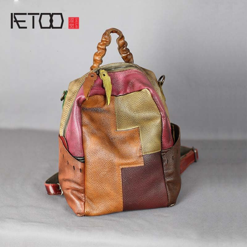 c71a488d2931 AETOO Literary retro genuine leather backpack female large capacity soft  leather hand-stitched first layer cowhide backpack Review